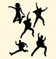 people jumping silhouette 03 vector image vector image