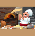 pizza chef makes pizza dough vector image