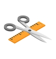 Scissors with ruler 3d isometric icon vector image vector image