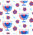 seamless pattern with hanukkah icons vector image