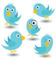 set of blue vector birds vector image vector image