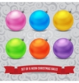 Set of six neon christmas balls vector image