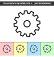 simple outline transparent cogwheel icon on vector image