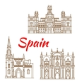 Thin line icons of Spanish landmarks vector image vector image
