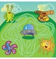 UFO monster maze vector image vector image