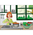 woman cooking food vector image