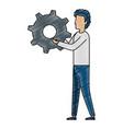 young man lifting gear vector image