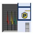 front view of a police station vector image