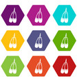 pointe shoes icon set color hexahedron vector image