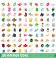 100 interior icons set isometric 3d style vector image