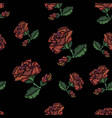 rose pattern embroidery vector image