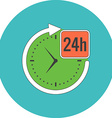 24 hours service concept Flat design Icon in vector image