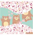3 silly teddy bears peak a boofor birthday card vector image