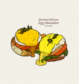 a delicious eggs benedict with smoked salmon vector image vector image
