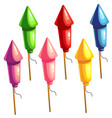 a set of color rockets for fireworks vector image