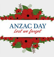 anzac day poster with red poppy flower vector image
