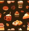 autumn desserts flat seamless pattern pumpkin vector image