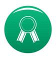 award ribbon icon green vector image
