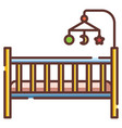 baby crib linecolor vector image
