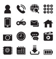 basic smart phone application icons set vector image vector image