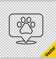 black line map pointer with veterinary medicine vector image vector image