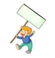 Boy holding white board vector image vector image