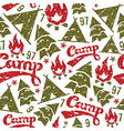 Camping seamless patterns vector image vector image