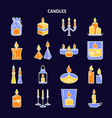 candle icons set in colored line style on dark vector image vector image