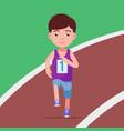 cartoon boy running a marathon in a stadium vector image vector image