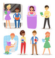 cartoon people reading books students and adult vector image vector image
