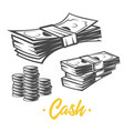 cash black and white objects vector image