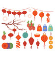 chinese new year decorations lantern lamps set vector image