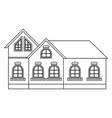 city small houses outline drawing vector image