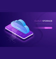 cloud storage and technology web hosting data vector image vector image