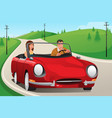 couple riding a convertible car vector image vector image