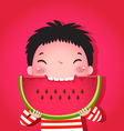 Cute boy eating watermelon vector image
