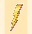 cute fashion patch with yellow lightning vector image vector image