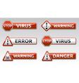 Danger virus warning icon vector image