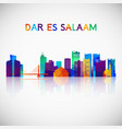 dar es salaam skyline silhouette in colorful vector image vector image