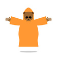 Death bear in yellow clothes reaches out his hands vector image