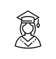 female student - line design single isolated icon vector image