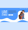 flat banner landing page love story vector image vector image