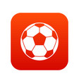 football soccer ball icon digital red vector image vector image