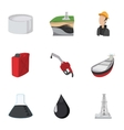 Fuel icons set cartoon style vector image vector image