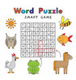 funny animals word puzzle smart game vector image vector image