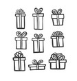 gift icon set simple present box with ribbon vector image