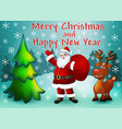 greeting card with christmas trees santa with vector image