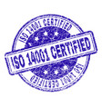 grunge textured iso 14001 certified stamp seal vector image vector image