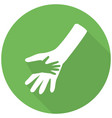 hand icon flat icon with long shadow vector image vector image