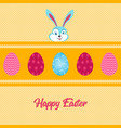 happy easter bunny with decorative eggs over small vector image